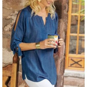 Soft Surroundings Chambray Cold Shoulder Top